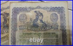 German gold bond 1924 External Loan uncancelled $1000 As-Is 2 pc, running number