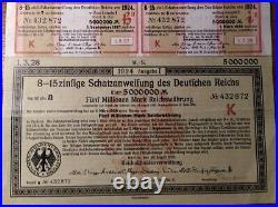 Germany 1923 Berlin Deutschen Reichs 5.000.000 Mark Coupons NOT CANCELLED Bond
