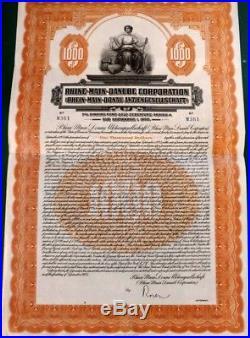 Germany 1925 Rhine Main Danube Gold 1000 Dollars ABNC UNCANCELLED Bond Loan VGC