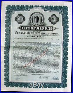 Germany 1953 City Munich UNC 100 Pounds Bond Share Loan Anleihe