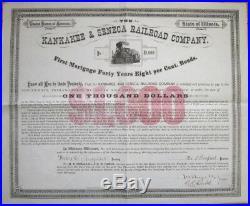 Giant 1881 Bond Certificate'Kankakee & Seneca Railroad Company