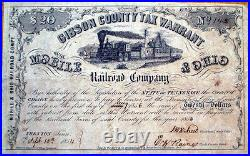 Gibson County, Tennessee TN-Mobile & Ohio Railroad 1854 Warrant/Bond Certificate