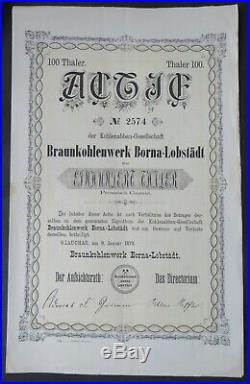 Glauchau Braunkohlenwerk Borna-Lobstädt Actie Aktie 1873 Sachsen Bergbau RAR