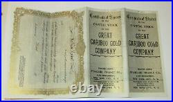 Great Cariboo Gold Company LARGE 1906 Stock Certificate 15 x 13 3/4 Nuggets