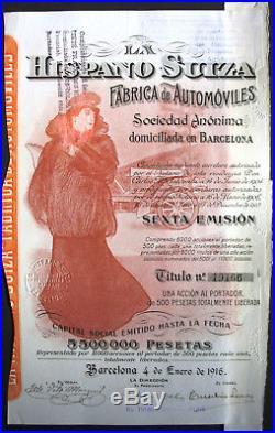 Hispano Suiza Automoviles dekorative Auto Aktie Barcelona 1916 Spanien Espana