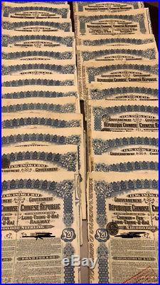 Hoard Of 45 Genuine Orig Super Petchili (1913 Lung Tsing U Hai Rwy) Bonds