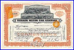 Hudson Motor Car Company Stock Certificate