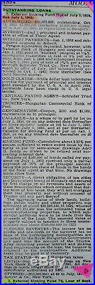 Hungary Municipal 7-1/2% 1000 $ Gold Bond 1925 unc. + coupons pr Waterlow & Sons
