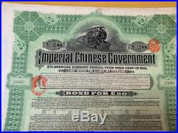 Imperial Chinese Gov't Hukuang Railways Sinking Fund Gold Loan 20 Pounds 1911