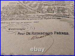 Japan 1907 Imperial Government Rothschild 20 Pounds NOT CANCELLED Bond Share