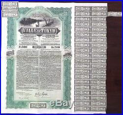 Japanese 1912 City Ville Tokyo 500 Francs Industrial Bank Coupons UNC Bond Share