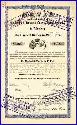 Königliche Ludwigs Eisenbahn 1835 1869 Nürnberg Fürth Adler Stephenson100 Gulden