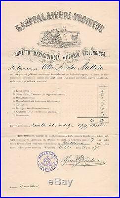 Kauppalaivuri Todistus 1895 Wiborg Unique Historial Document & Certificate