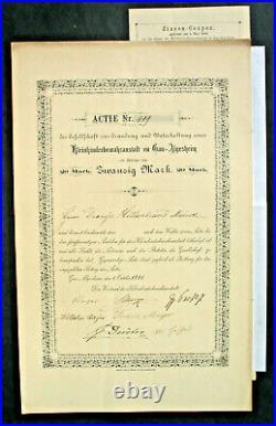 Kleinkinderbewahranstalt zu Gau-Algesheim Aktie 1881 + Kup Lk Mainz Bingen Pfalz