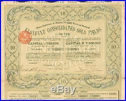Klondyke Gold Fields 1901 Alaska Klondike gold mines mining share certificate
