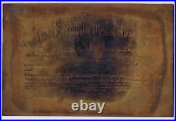 LA JARA GOLD MINES OBSOLETE 1912 COPPER PRINTING PLATE for SHARE & COUNTERFOIL