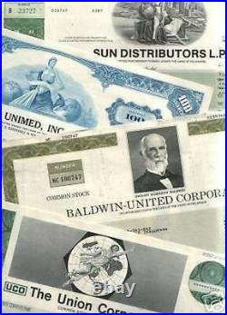 LOT(S) of 1000 RARE VINTAGE PICTORIAL US STOCK CERTIFICATES 19.9c! 100 X 10 DIFF