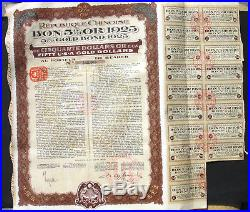 Lot 10x China 1925 Republique Chinoise histor. Gold bond + coupons bon 5 % Or