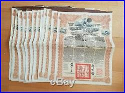Lot Of 12 Chinese Bonds 5% 1913 Reorganisation