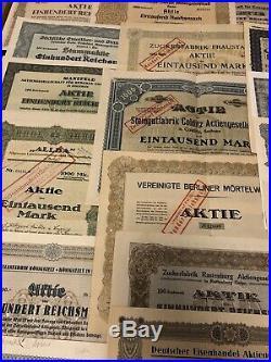 Lot/Sammlung 50 St. Historische Wertpapiere Deutsche Aktien -siehe Bilder-