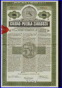 MEXICO City Bond Ciudad de Puebla de Zaragoza $500 1907 uncancelled dividend c