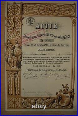 Magdeburger Lebensversicherungs Gesellschaft 500 Thaler 1856 Gründeraktie