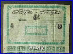 Mexico $1000- Tamaulipas / San Luis Potosi Two Presidents Bond 1865 No Cancel