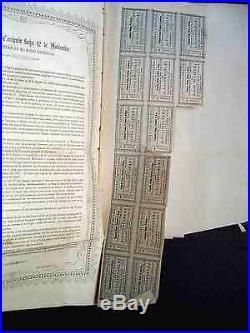 Mexico 1854 Mexican Convencion Española 25 Pesos Coupons NOT CANCELLED Bond Loan