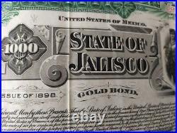 Mexico 1898 Estado State Jalisco 1000 Pesos Gold OR Coupons NOT CANCELLED Bond