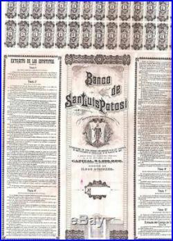 Mexico Mexican 1897 Banco Bank San Luis Potosi 100 $ Coupons UNC Bond Share Loan