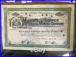 Michigan Copper Mining Company Stock Certificate 1901 Michigan One Known