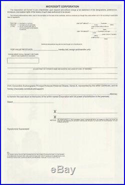 Microsoft Specimen Stock Certificate Bill Gates Printed Autograph Rare Software