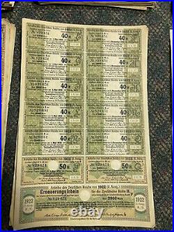 Motherload Of German Bonds And Coupons 1922 502 Total 1000-100,000 Sequential
