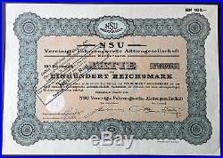 NSU-Neckarsulm, Vereinigte Fahrzeugwerke Aktiengesellschaft, Aktie-RM 100