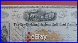New York & Harlem Rail Road Company. Stock Certificate Signed by Vanderbitt