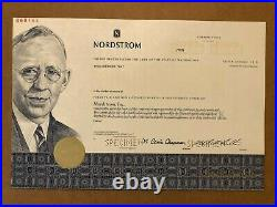 Nordstrom Specimen Stock Certificate 2000 Scarce High End Department Store
