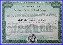 Northern Pacific Railroad Co. JP Morgan & Company 1896 Stock Certificate