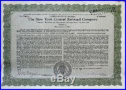 ONE MILLION DOLLARS 1921'New York Central Railroad' Bond Certificate $1,000,000