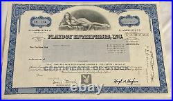 Official Vintage 1982 Playboy Enterprises $1 Stock Certificate Willy Rey Blue