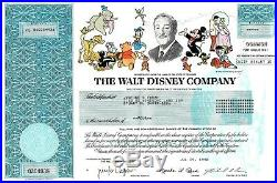 Original Disney Stock Certificate Issued 1998