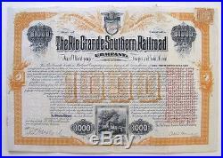Otto Mears Signed Rio Grande Southern Colorado RR $1000 Bond 1890