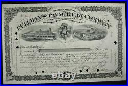 PULLMANS PALACE CAR Stock Certificate Signed George Pullman 1890
