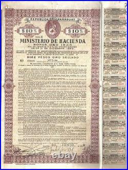 Paraguay Gold Internal loan 1935 Bond 1939 Public Debt $10 Uncancelled coupons