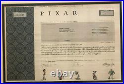 Pixar animated studios stock certificate Steve Jobs founded now part of Disney