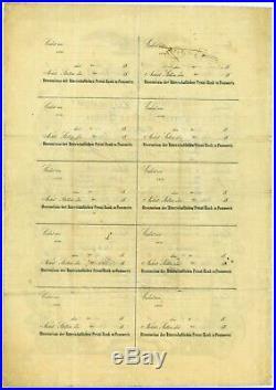 Pommersche Ritterschaftliche Bank zu Stettin 19.09.1856, Aktie 500 Thaler