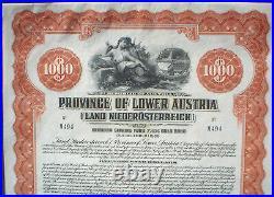 Province of Lower Austria 1000$ 7 1/2% Gold Bond 1925 uncancelled + coupons