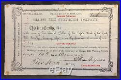 QUARTZ HILL TUNNELING COMPANY certificate #6 Jefferson Territory COLORADO 1859