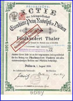 RAR Eisenhütte Prinz Rudolph zu Dülmen 500 Thaler 1870