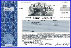 RARE Enron Corp. Stock Certificate with Ken Lay's signature Wall Street NYSE