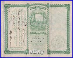 RARE Stock Certificate Signed Brazos Oil Company South Dakota 1901 w stamps